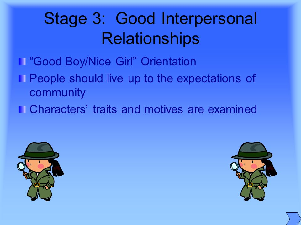 good boy nice girl orientation essay Controversies about human development uploaded by laurenegracebilgera human development save   essays how to win friends and influence people steve jobs angela's ashes: a memoir  good boy – nice girl orientation stage 4 – law and order orientation 3 level 3 – post conventional morality.