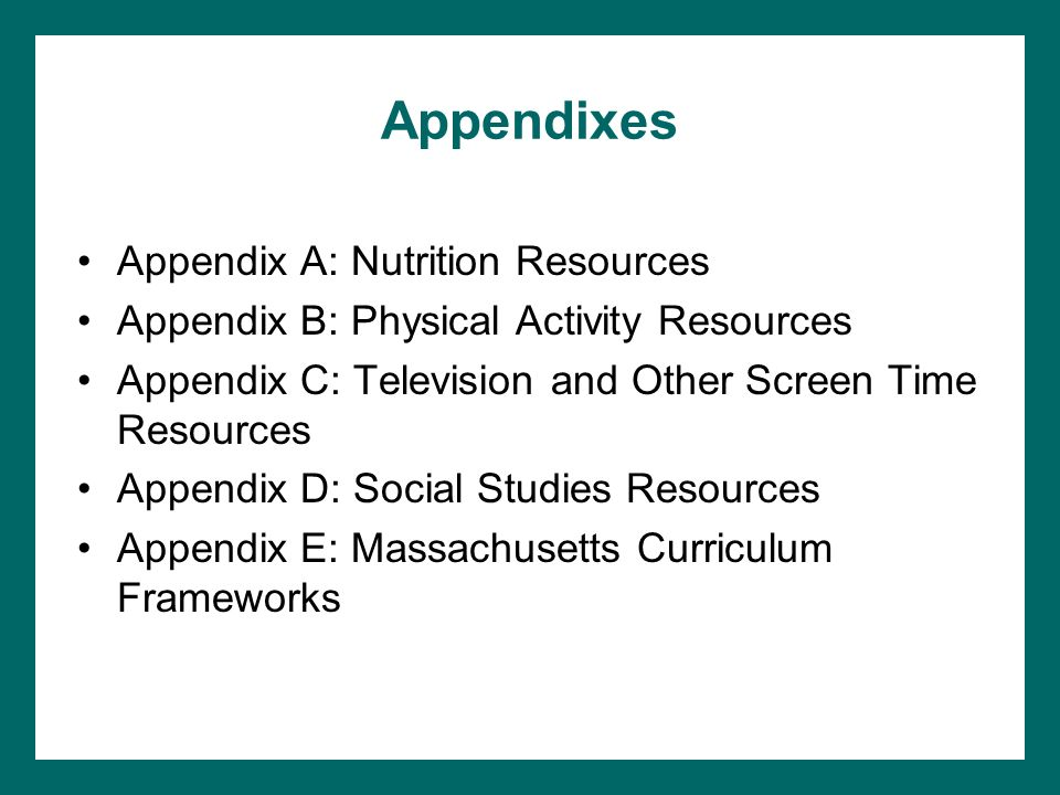 Appendixes Appendix A: Nutrition Resources