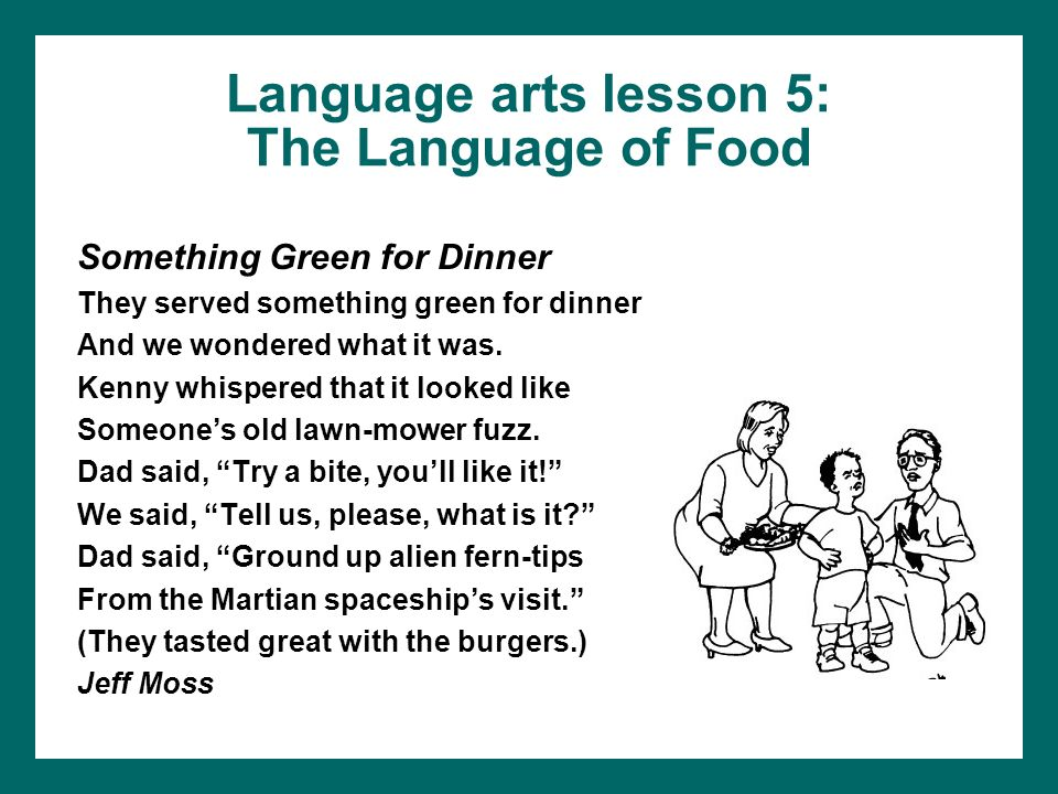 Language arts lesson 5: The Language of Food