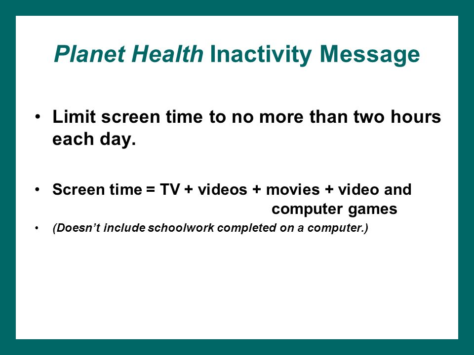 Planet Health Inactivity Message