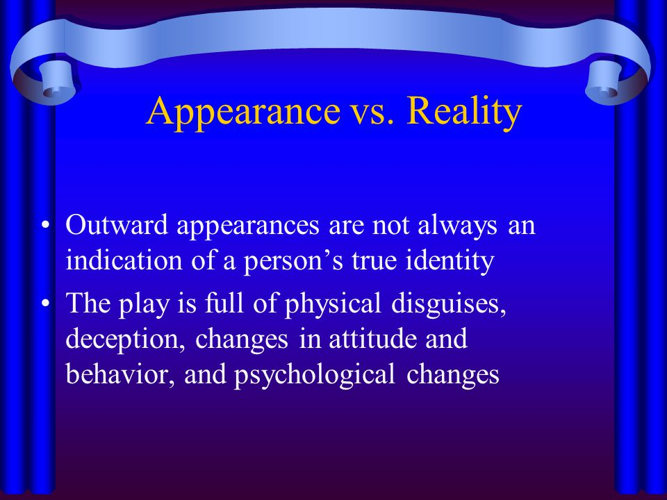 an introduction to the appearance vs reality in hamlet by william shakespeare The theme of appearance vs reality in hamlet from litcharts | the creators of sparknotes  hamlet by william shakespeare  hamlet themes: appearance vs .