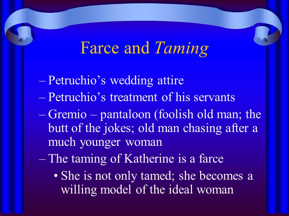 presentation of katherine taming of The taming of the shrew explore shakespeare's presentation of women in the  following  to ensure that kate will marry him, petruchio must tame his wife into .