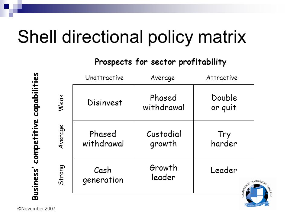 directional policy matrix 1 bcg matrix 2 ge nine-cell matrix 3 hofer's product/market evolution matrix  4 directional policy matrix 5 arthur d little's portfolio matrix.