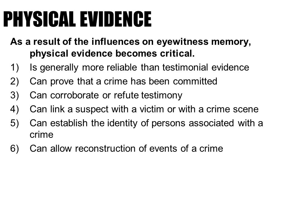 witness memory as evidence in criminal trials Evidence in criminal proceedings: hearsay and related  as evidence of its truth 1073 161 memory  proceedings: hearsay and related topics.
