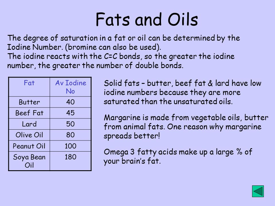Fats and Oils The degree of saturation in a fat or oil can be determined by the. Iodine Number. (bromine can also be used).