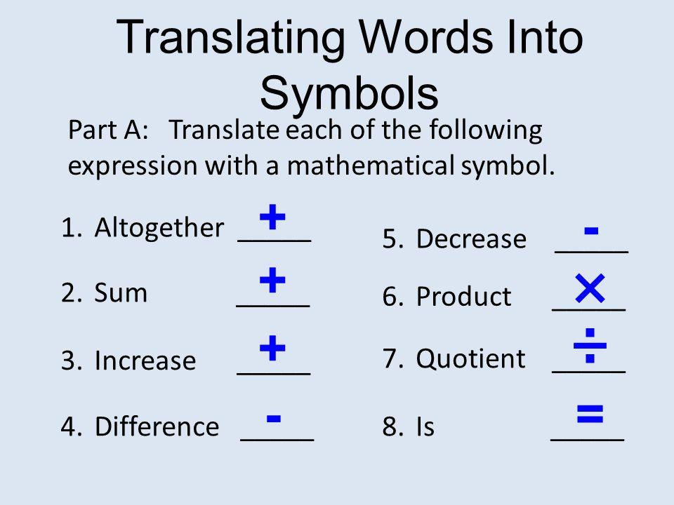 Translating Words Into Symbols Ppt Video Online Download