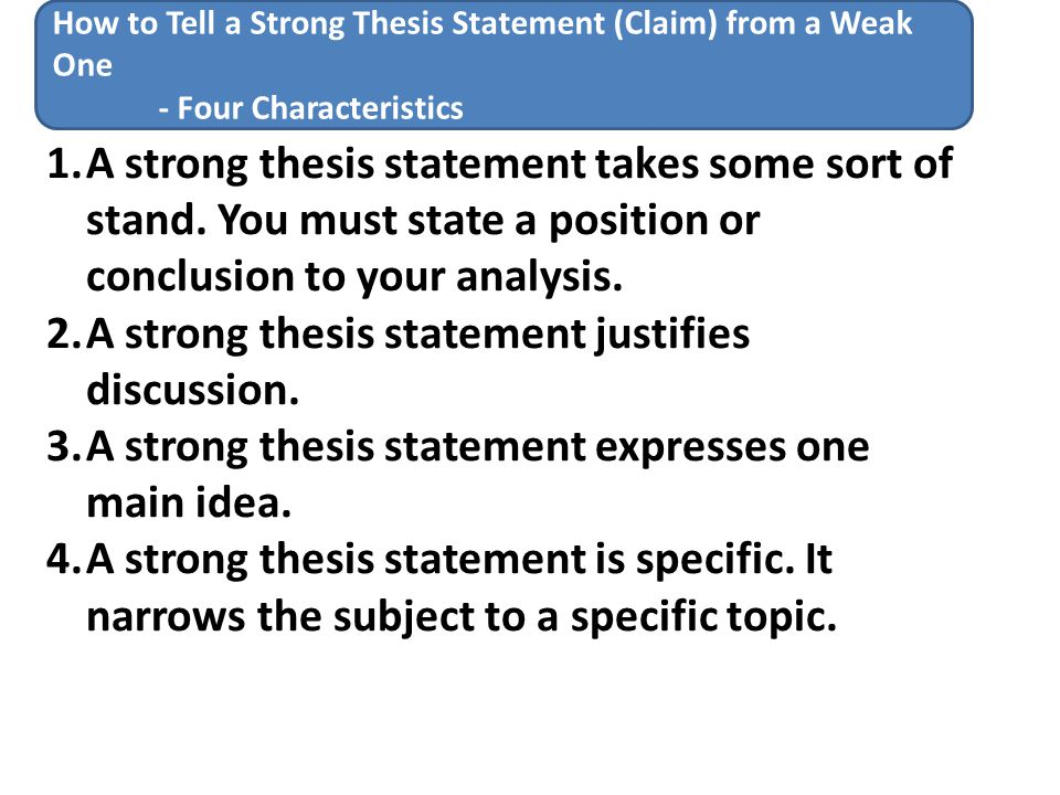 Four rules for writing a thesis statement