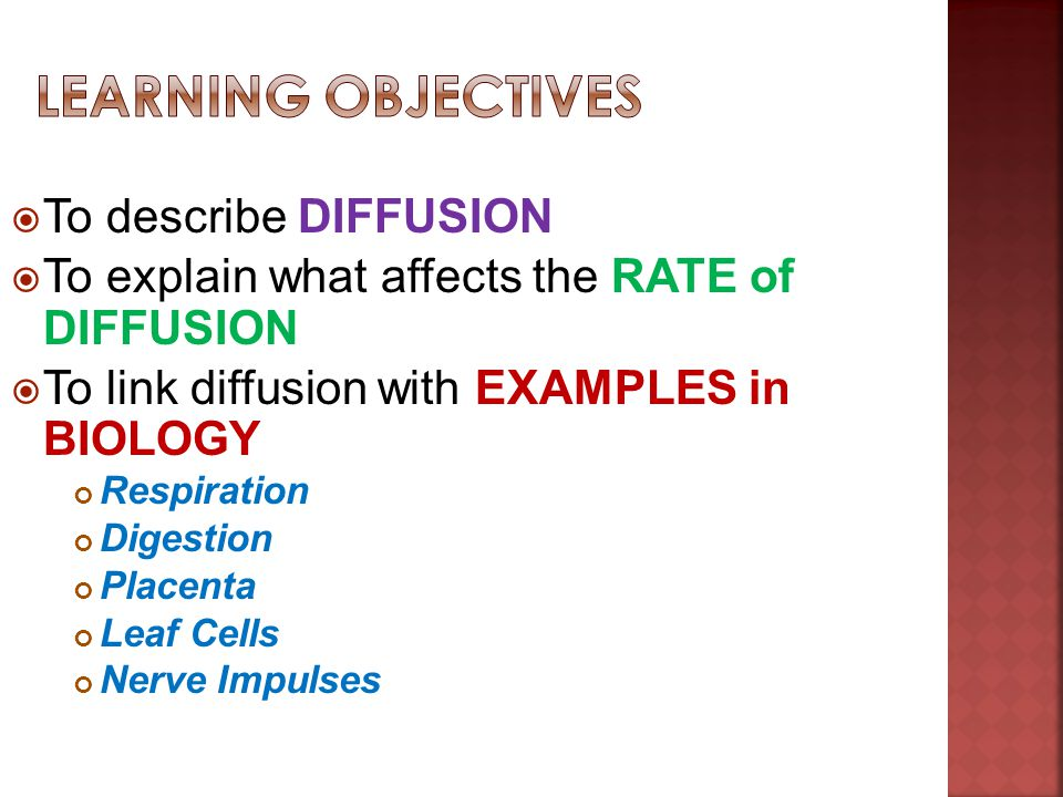 Learning Objectives To describe DIFFUSION