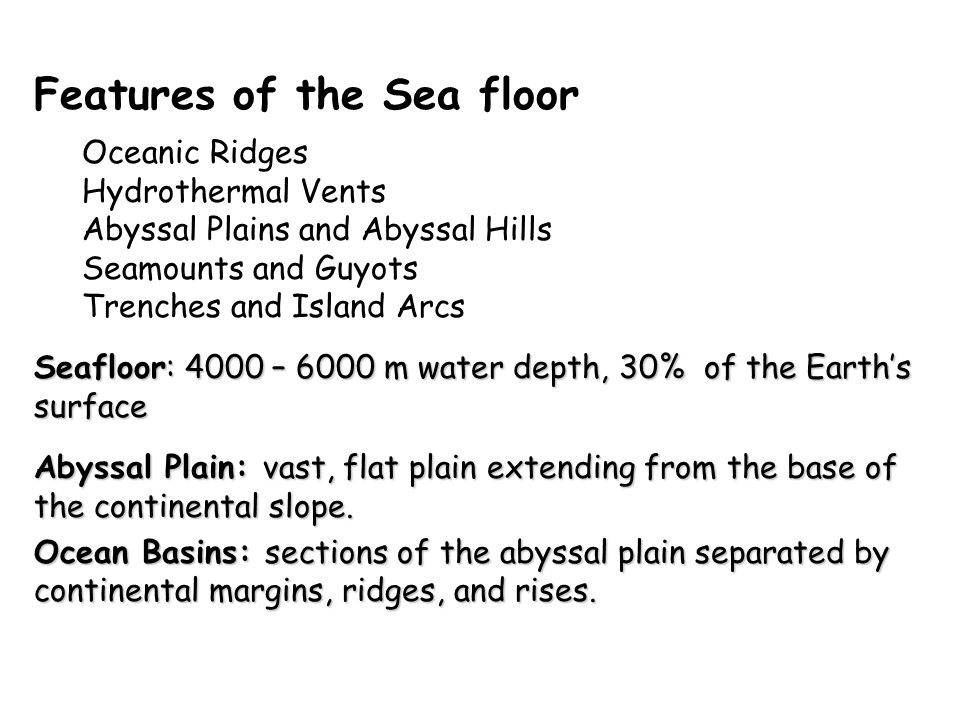 Chapter 4 continental margins and ocean basins ppt video for Ocean floor features definition