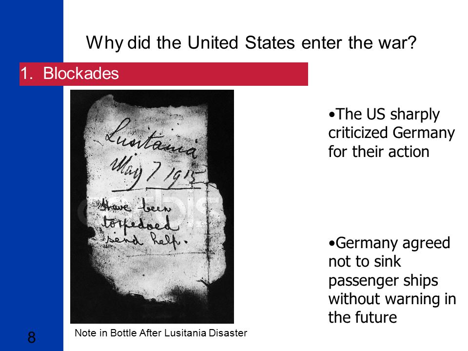 why did the united states enter world war i essay Why did the us enter world war 1 save cancel already exists the german's naval policy was the major reason why the united states declared war on germany.