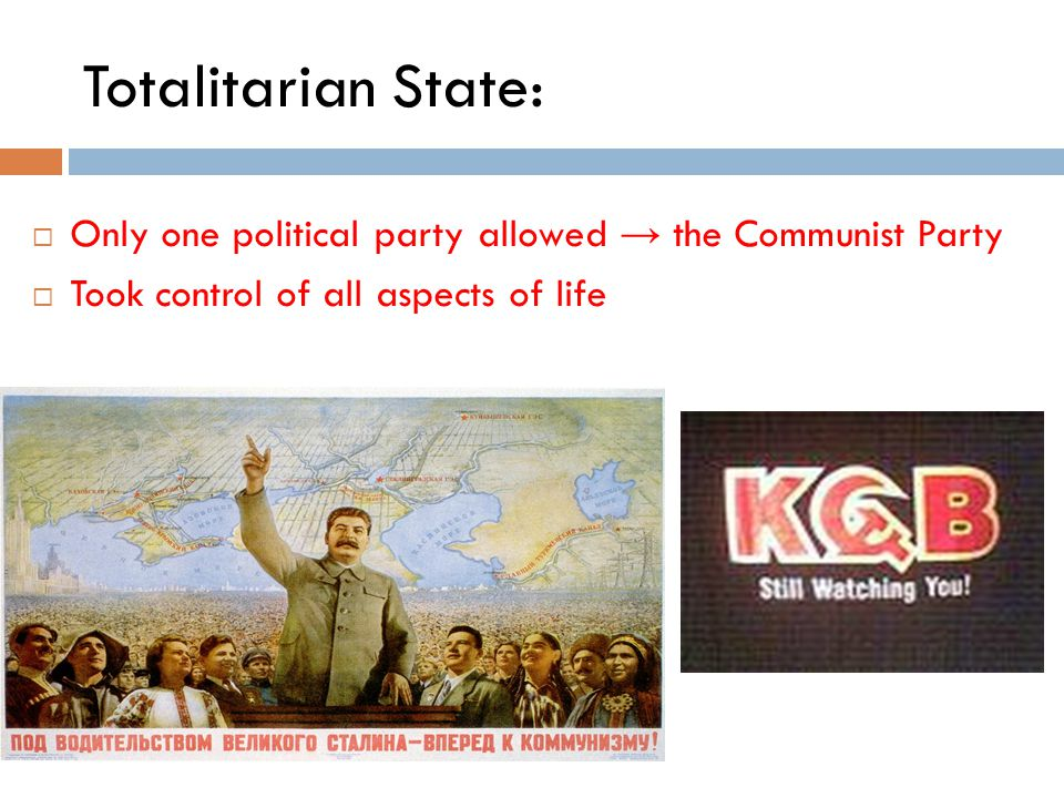Totalitarian State: Only one political party allowed → the Communist Party.