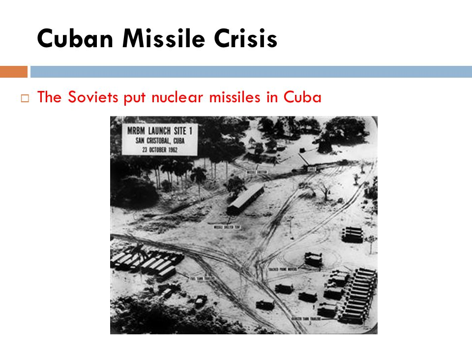 Cuban Missile Crisis The Soviets put nuclear missiles in Cuba