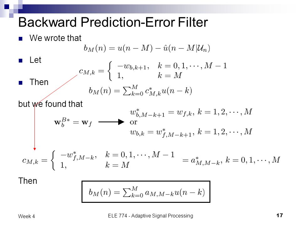 Backward Prediction-Error Filter