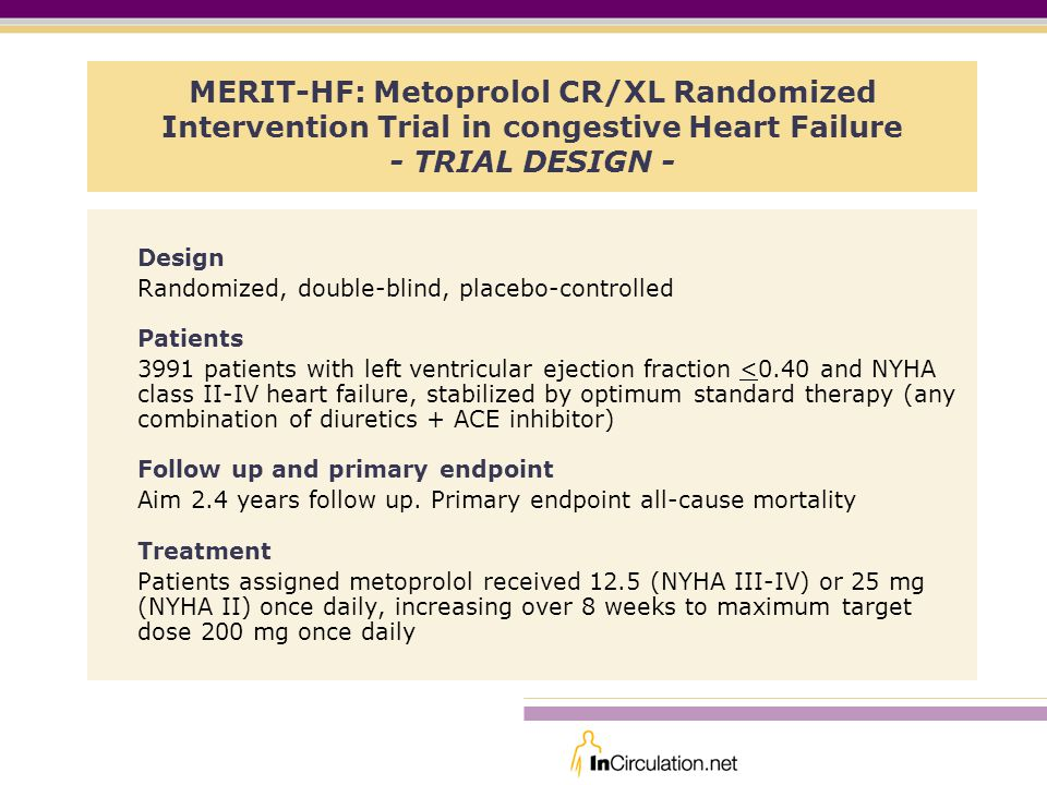 MERIT-HF: Metoprolol CR/XL Randomized Intervention Trial in congestive Heart Failure - TRIAL DESIGN -