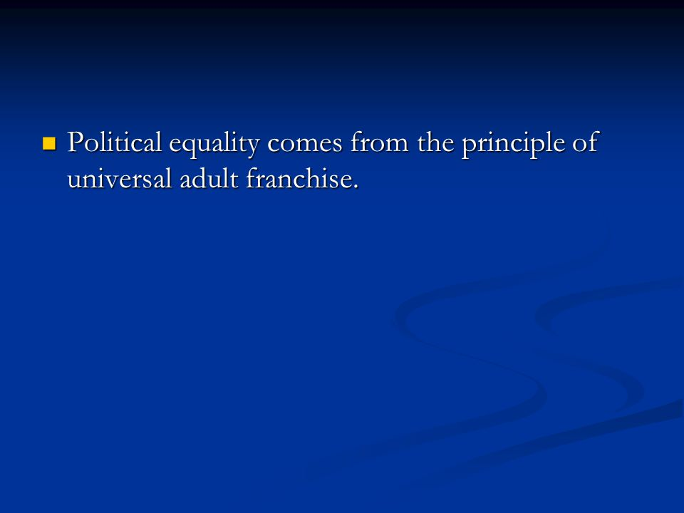 essay on political equality Social justice and equality is a significant issue in almost all societies around the world it encompasses other important issues like human rights, social policies, social welfare problems and the like it includes concerns about race, gender, ethnicity, socio-economic status, educational.