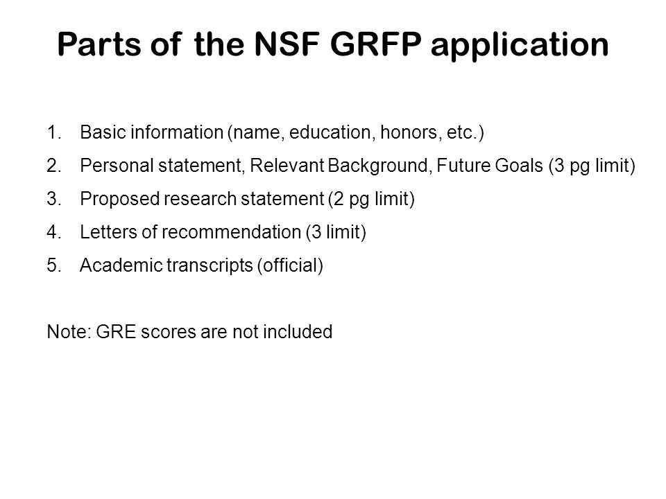 nsf grfp personal statement 1 nsf graduate research fellowship program unofficial guide sheet ~ personal statement (essay) ~ here's an example of what the reviewer s will need to learn about you in these 2 pages :.