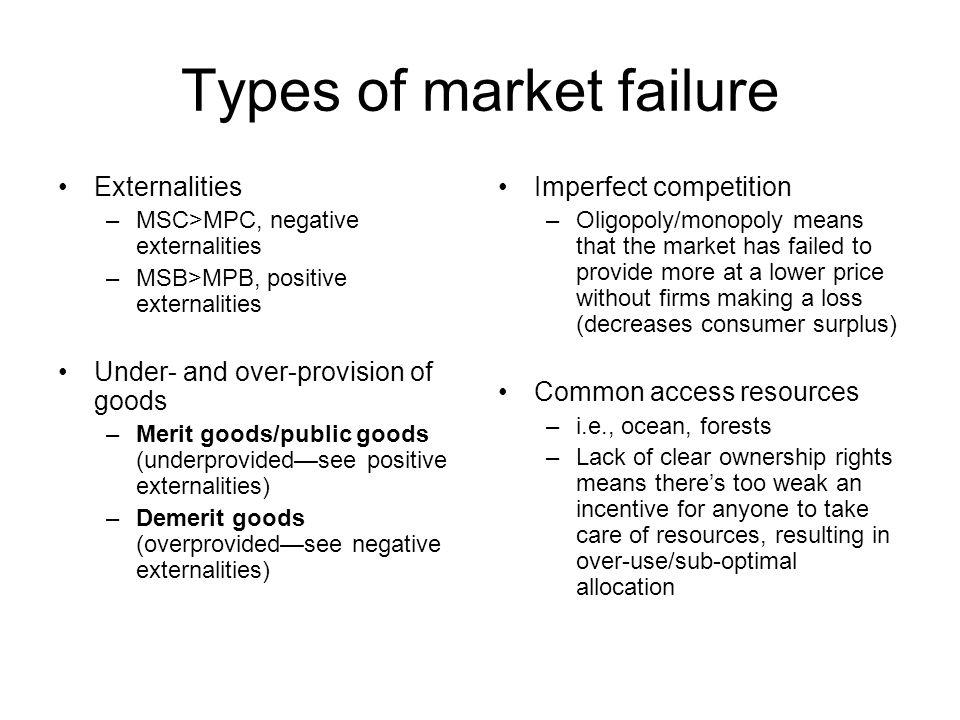 Types of market failure