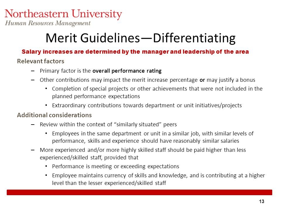 Merit Guidelines—Differentiating