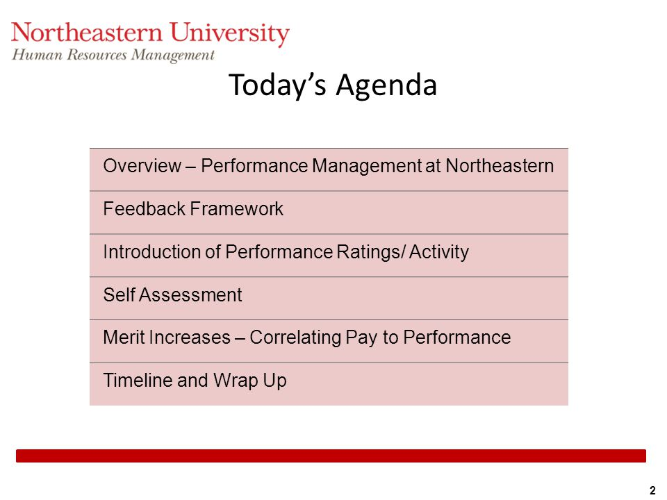 Today's Agenda Overview – Performance Management at Northeastern