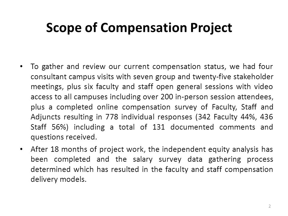 Scope of Compensation Project