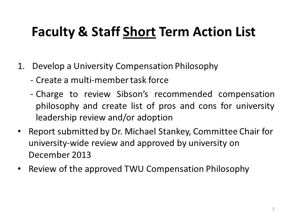 Faculty & Staff Short Term Action List