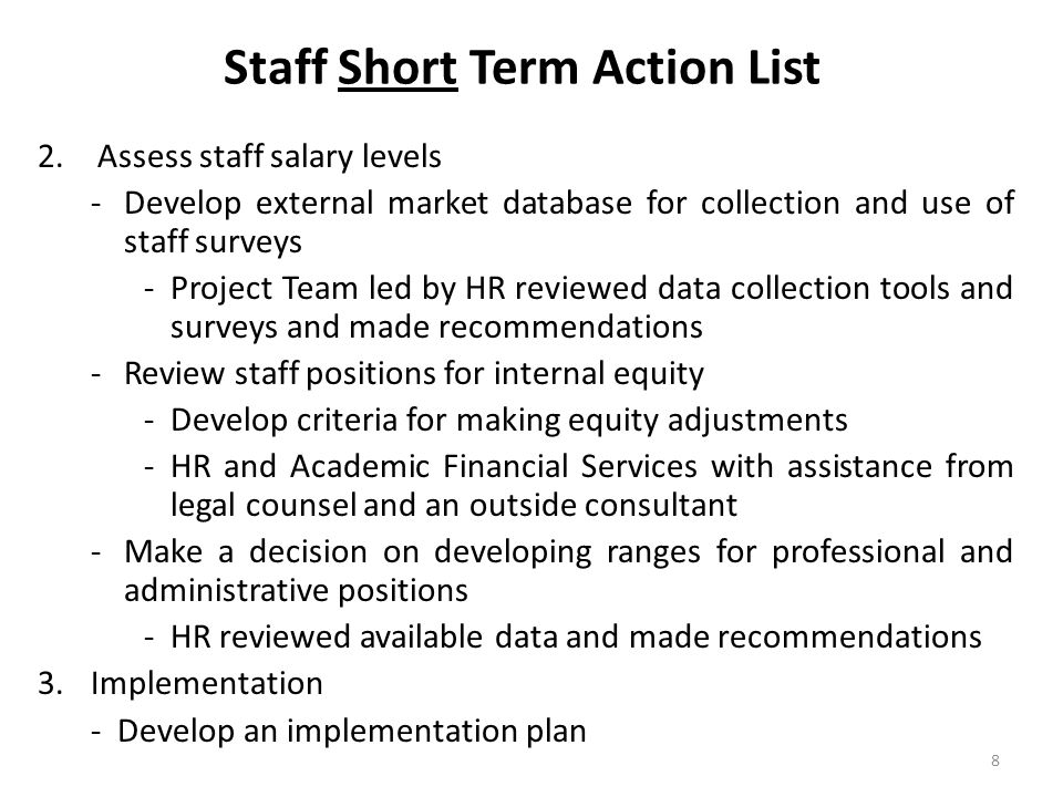 Staff Short Term Action List