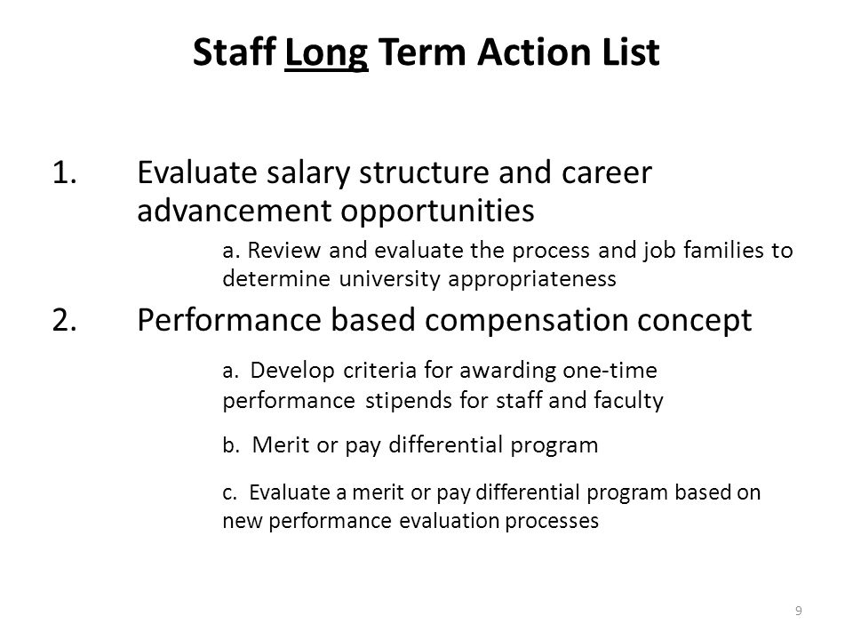 Staff Long Term Action List