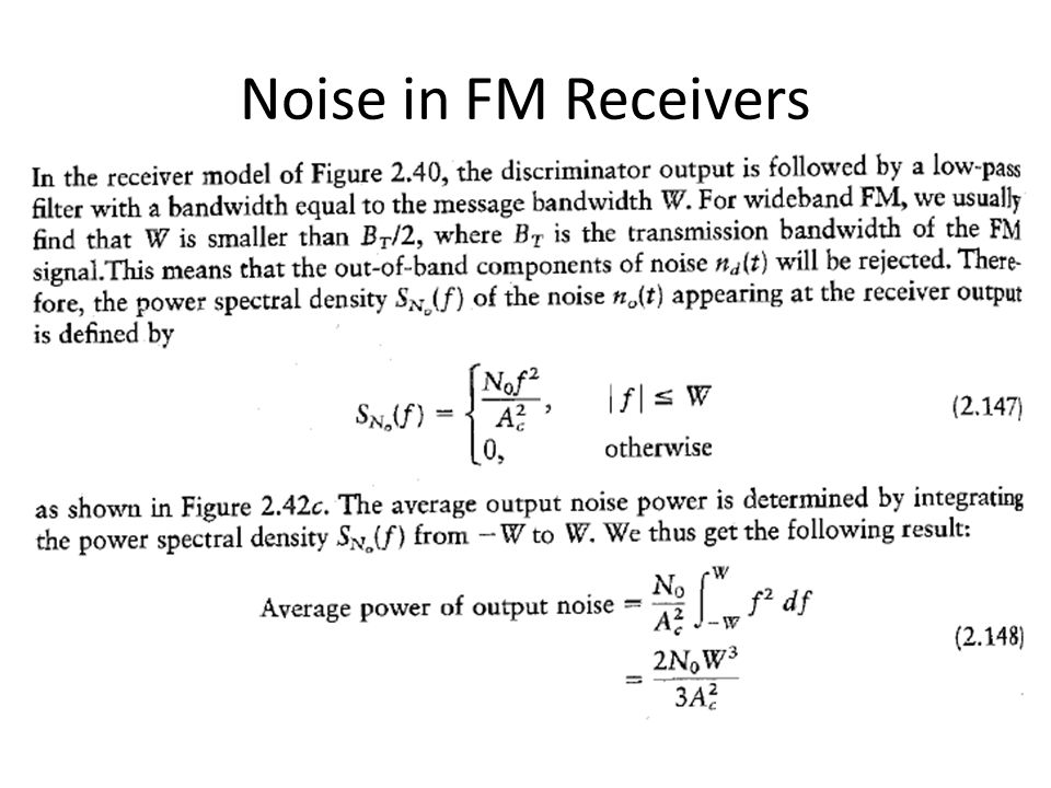 Noise in FM Receivers