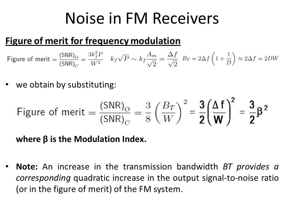 Noise in FM Receivers Figure of merit for frequency modulation