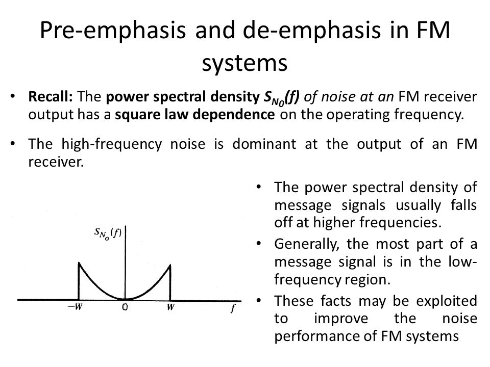 Pre-emphasis and de-emphasis in FM systems
