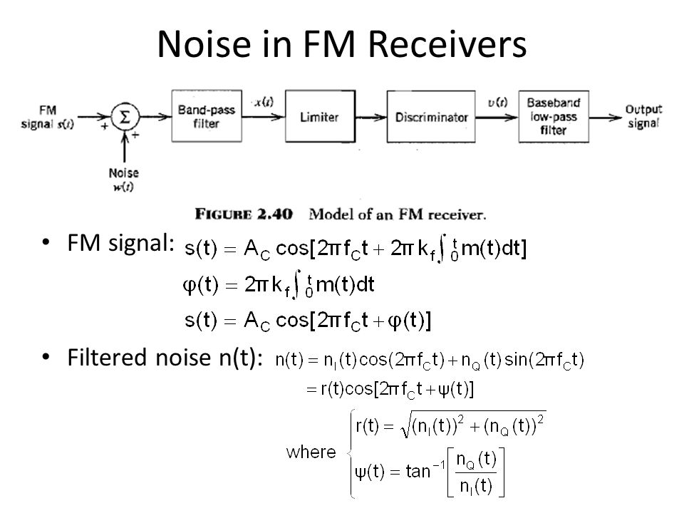 Noise in FM Receivers FM signal: Filtered noise n(t):