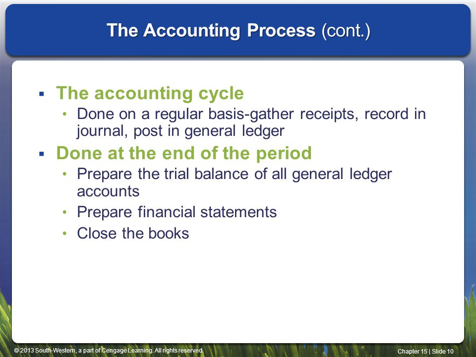 The Accounting Process (cont.)