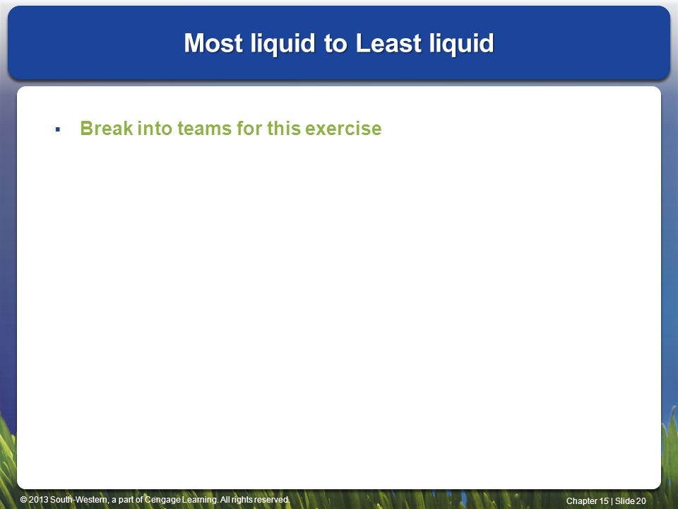 Most liquid to Least liquid