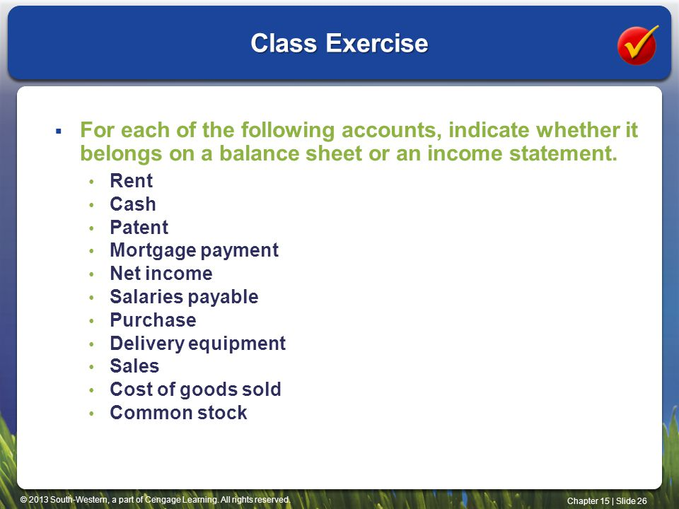 Class Exercise For each of the following accounts, indicate whether it belongs on a balance sheet or an income statement.