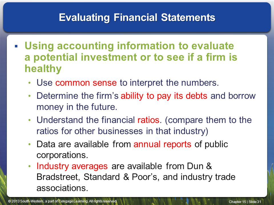 Evaluating Financial Statements