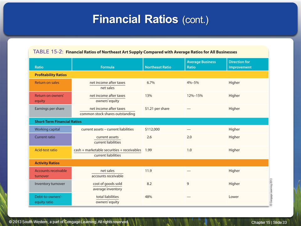 Financial Ratios (cont.)