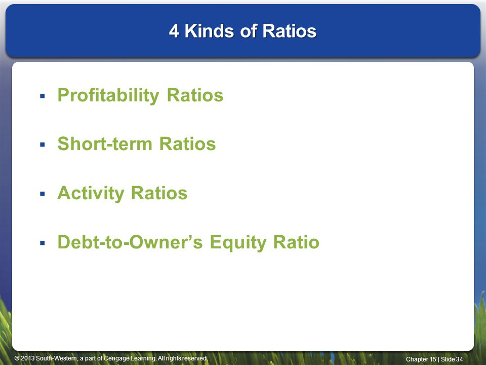 4 Kinds of Ratios Profitability Ratios. Short-term Ratios.