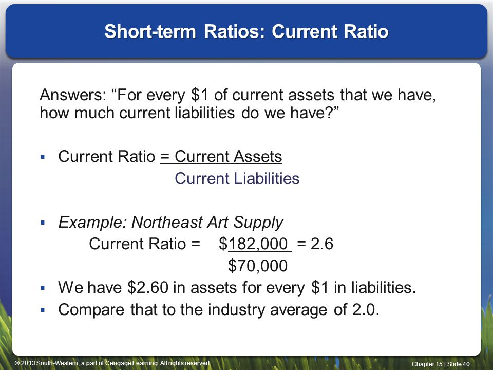 Short-term Ratios: Current Ratio
