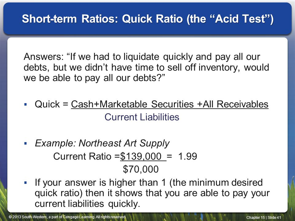 Short-term Ratios: Quick Ratio (the Acid Test )