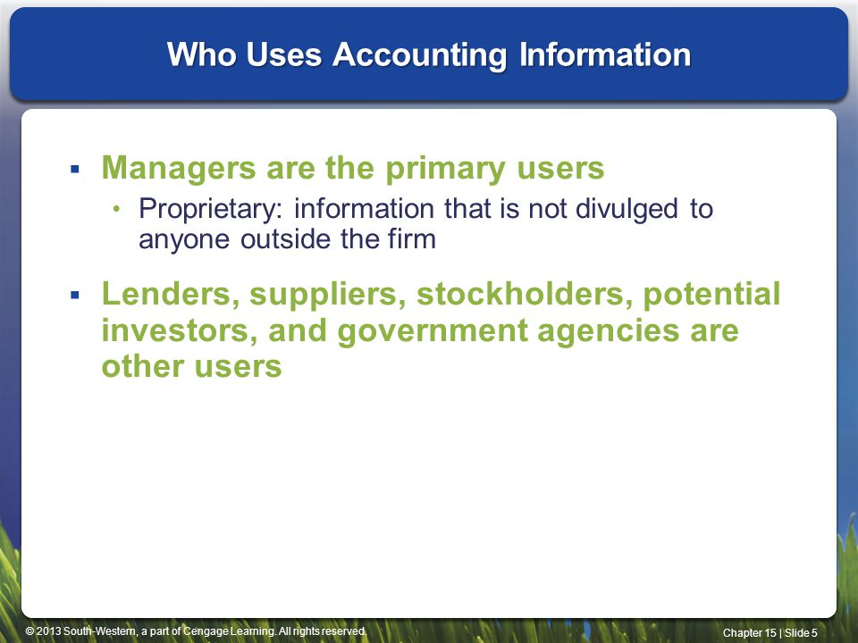 Who Uses Accounting Information