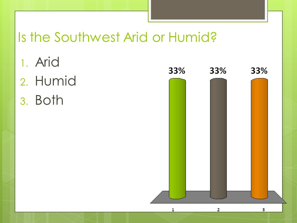 Is the Southwest Arid or Humid