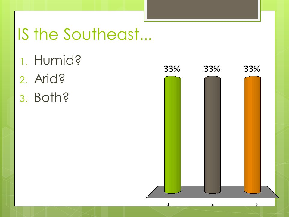 IS the Southeast... Humid Arid Both