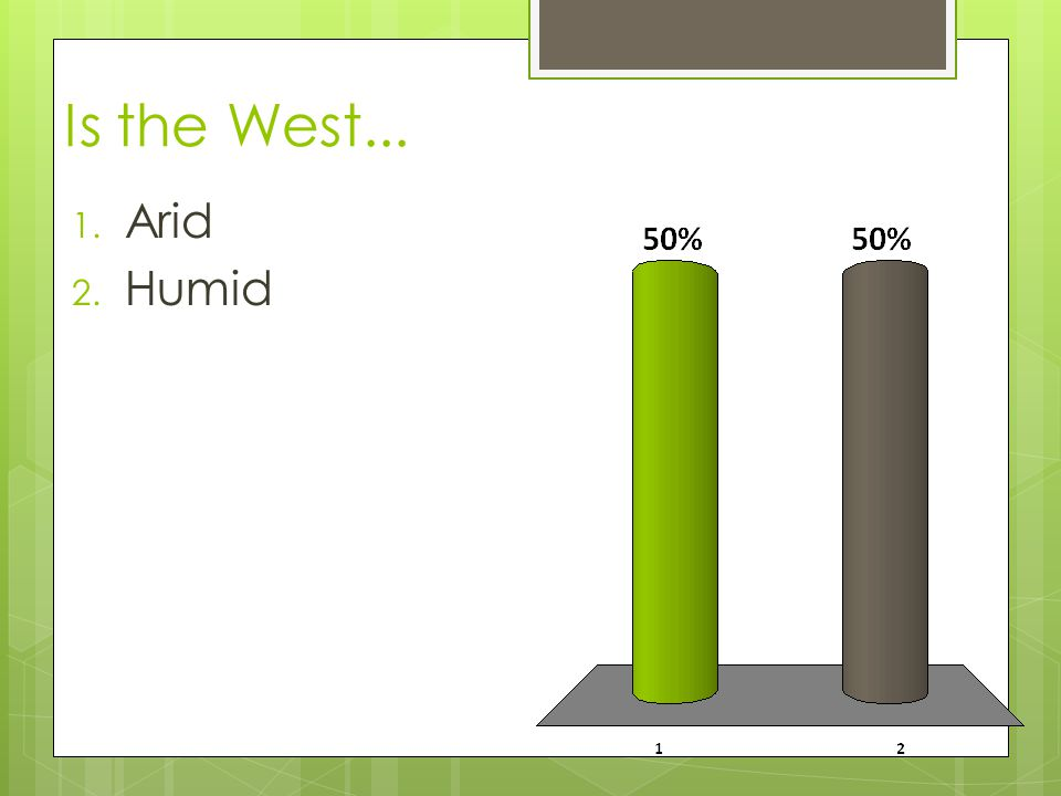 Is the West... Arid Humid