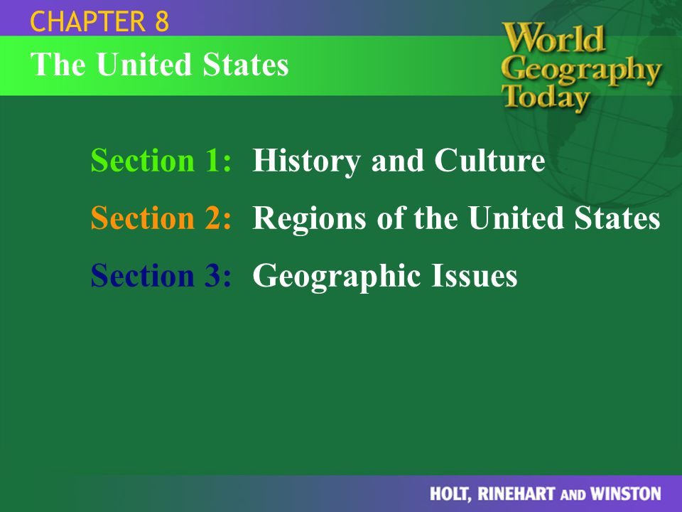 Section 1 History And Culture Section 2 Regions Of The United States