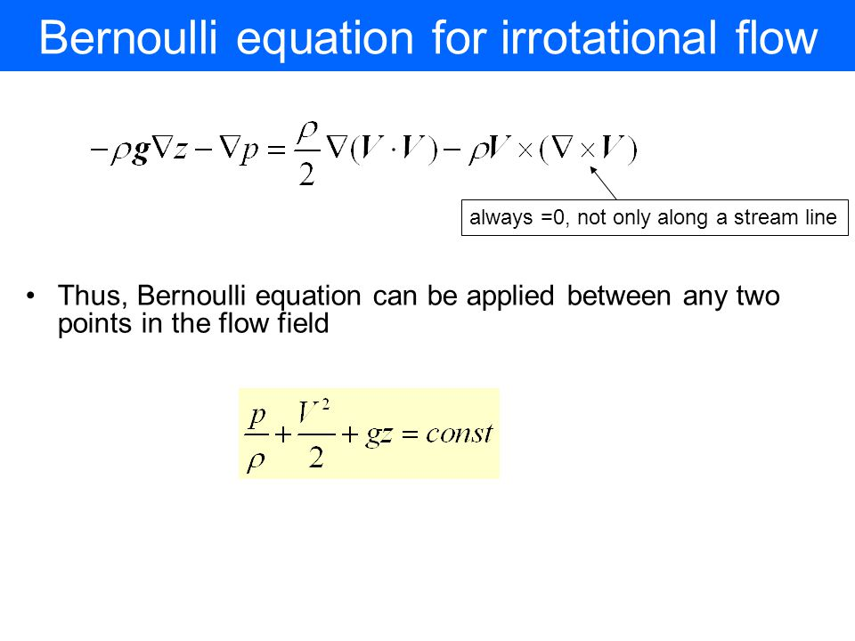 Bernoulli equation for irrotational flow