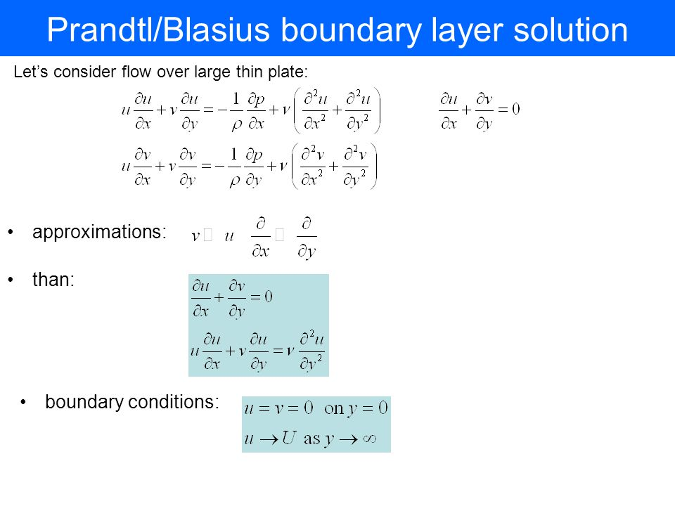 Prandtl/Blasius boundary layer solution