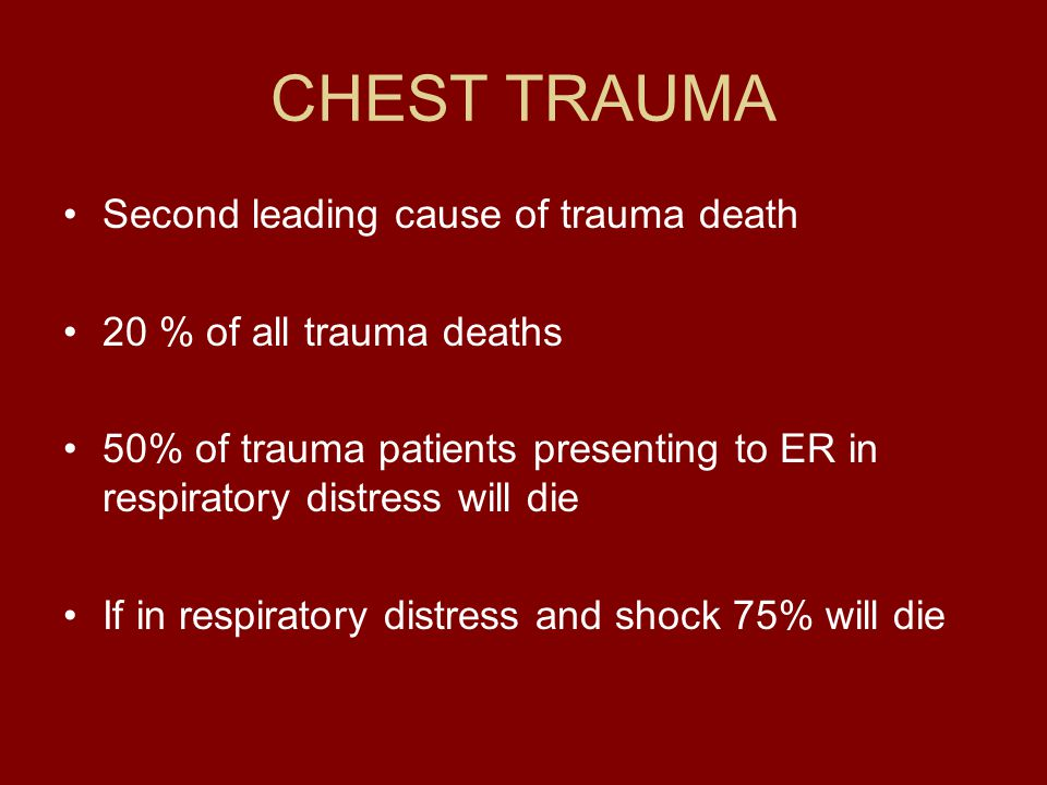 CHEST TRAUMA Second leading cause of trauma death