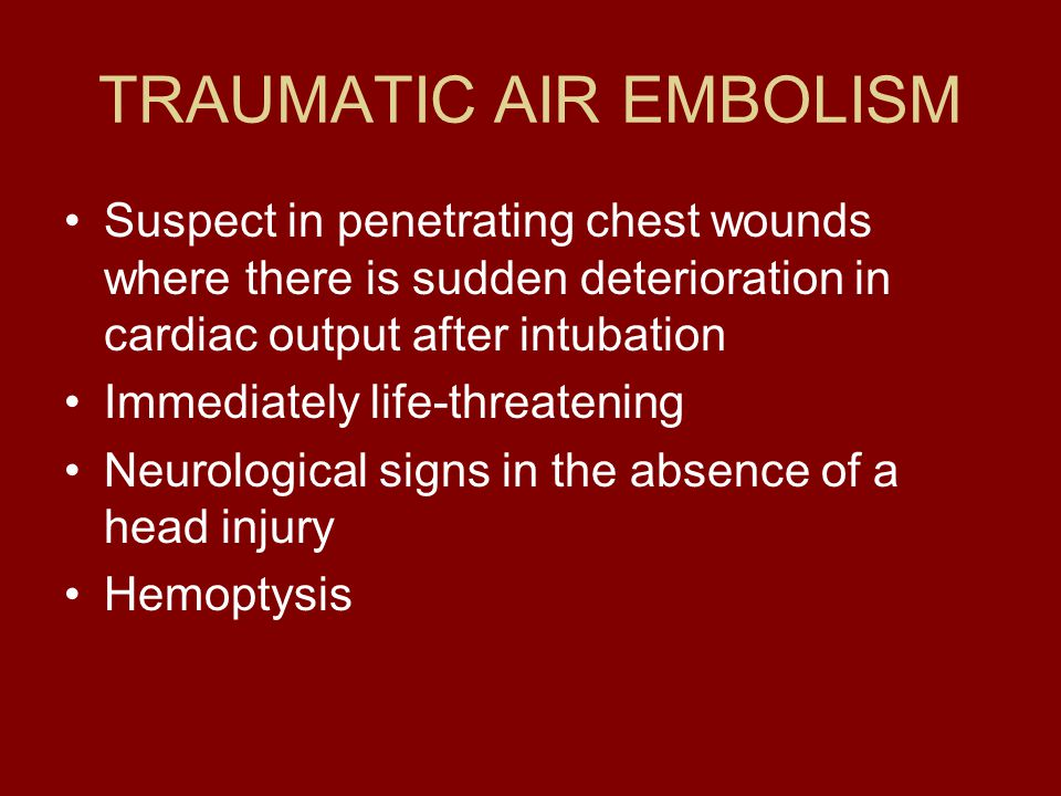 TRAUMATIC AIR EMBOLISM