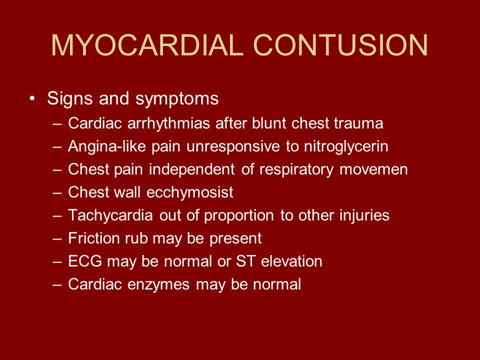 MYOCARDIAL CONTUSION Signs and symptoms