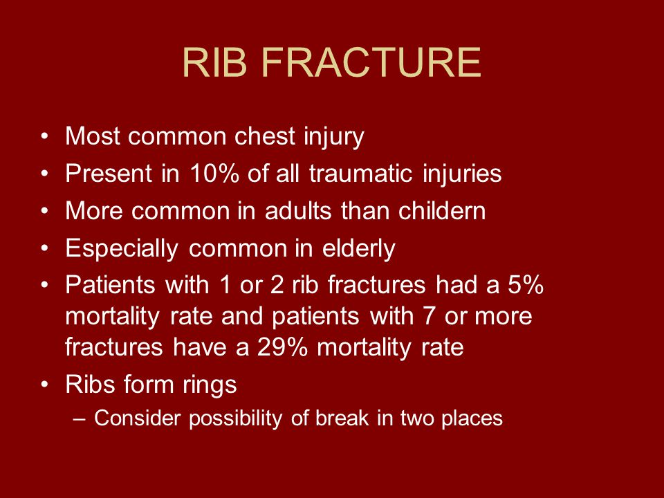 RIB FRACTURE Most common chest injury